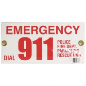 Pentair R231700 Rainbow 30cm x 15cm Emergency Phone # 911 Sign