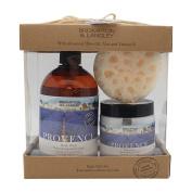 Brompton & Langley Exotic Retreats Bath Trio - Shower Gel, Body Butter & Synthetic Sea Sponge, Provence, 3 Ct