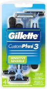 Gillette Custom Plus 3 Razors Sensitive 4 Each