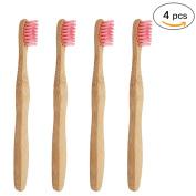 Genkent 4 Pcs Bamboo Toothbrush for Kids,Natural & amp;Eco Friendly Pink
