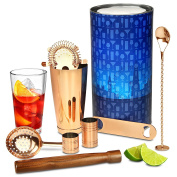 Copper Barware Kit by bar@drinkstuff - Premium Cocktail Gift Set with Copper Boston Cocktail Shaker Tin & Glass and Copper Bar Tools