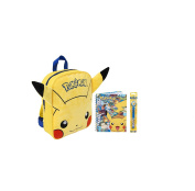 Pokemon Embroidered Plush Backpack Pikachu Yellow Schoolbag Hardback Spiral Notebook Colour Pen with Spinning Pikachu Topper School Stationery Bundle for Children/Toddler/Kids – 3 Piece