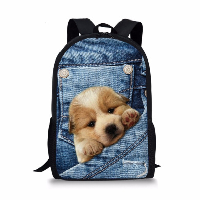 ThiKin 3D Printed Dog Animal Backpack for Teen Boys School Trips Daypack Lightweight 28(L) x 44cm (H) x 13cm
