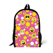 ThiKin School Bag Backpack for Girls Happy Emoji Pattern Kids Backpack