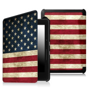 Fintie SmartShell Case for Kindle Voyage - [The Thinnest and Lightest] Protective PU Leather Cover with Auto Sleep/Wake for Amazon Kindle Voyage (2014), US Flag