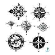 Yeeech Temporary Tattoo Paper Compass Black for Men Women