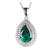 14KT WHITE GOLD 1.90 CARATS PEAR SHAPE 100% NATURAL GREEN EMERALD DIAMOND PENDANT WITH EGL CERTIFICATE