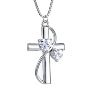 MJARTORIA Women's Silver Colour Heart Shape Crystal Rhinestone Cross Pendant Clavicle Chain Necklace