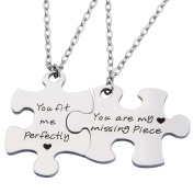 2pc His Crazy Her Weirdo Necklace Puzzle Piece Necklace Set Gift for Lover