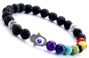 HCHIDS Men Women 8mm Lava Rock Chakra Beads Bracelet Elastic Natural Stone Yoga Bracelet Bangle ¡­