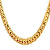 "BODYA 18K Gold Plated chain Necklace With ""18K"" Stamp Men Jewellery 5 MM Wide Snake Chain Necklace 20"""