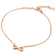 Gudeke Fashion Simple Women Rose Gold Infinity Eight Font Beach Anklets Bracelet Foot Chain
