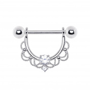 Clear Crystal Made For Royalty Ornate 316L Stainless Steel Nipple Bar Ring
