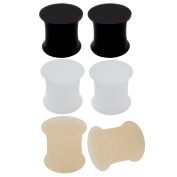 3 Pairs Flesh Ear Plug Skin Colour White Black Silicone Double Flare Earring Solid Gauges For Ears Tunnel Expander Body Piercing Jewellery - More Size Options
