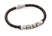 Fred Bennett Men's Jewellery Collection Stainless Steel Brown Leather Bracelet with Steel and Rose Gold PVD Beads of 20cm