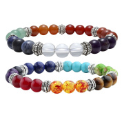 JOVIVI 2pc 7 Chakras Yoga Meditation Healing Balancing Round Stone Beads Stretch Bracelet Set, with Gift Box