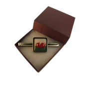 Handmade Welsh National Flag - Silver Plated Mens Square Tie Pin - Gift Boxed