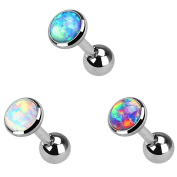Barbell Ear Rings - TOOGOO(R) 3 Lot Colourful Flat Opal Tragus Cartilage Bar Ear Rings Barbell Piercing Jewellery Gem size:3mm
