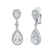 SELOVO Bridal Cubic Zirconia Clip-on Dangle Earrings Clear CZ Crystal Girls Women Jewellery