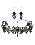 Mudder Black Rose Flower Lace Gothic Lolita Beads Pendant Choker Necklace Earrings Set