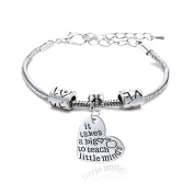 It takes a big heart to teach little minds Bracelet Adjustable Bangle Teacher Christmas Gift Women Men