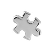Micro Dermal Anchor Attachment. Jigsaw Piece top only. Surgical Steel. For use with internal threaded shafts that measure 1.6mm (1.2mm thread on attachment).