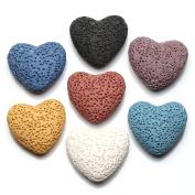 JOVIVI 7pcs/set Flat Heart Natural Lava Stones Beads For Essential Perfume Oil Diffuser