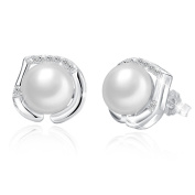 "♛J.Rosée♛ Women Ear Studs ""The Pearl River"" 925 Sterling Silver 8MM Freshwater Cultured Pearl 5A Cubic Zirconia Earrings Heart Button Studs New Edition with Exquisite Gift Package"