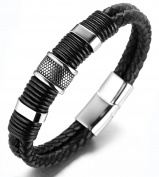 "Halukakah ""SOLO"" Men's Genuine Leather Titanium Bracelet Black & Silver & Golden 8.46""(21.5cm) with FREE GIftbox"