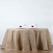 BalsaCircle 300cm Burlap Round Tablecloth - Natural Brown