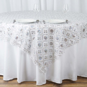 BalsaCircle 220cm Silver Table Overlay with Iridescent Sequins