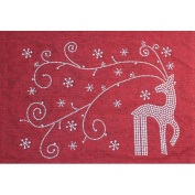 Sparkles Home Holiday Rhinestone Reindeer and Snowflakes Placemat