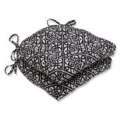 Pillow Perfect Lace It Up Ebony 41cm x 39cm . Reversible Chair Pad - Set of 2