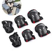 Overmont Skateboard Roller Blading Elbow Knee Wrist Protective Safety Gear Pad Guard 6pcs Set Size S M L 2 Colour