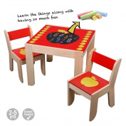 Labebe Wooden Activity Table, Red Apple Child Table and Chair for 1-5 Years Old, Wooden Dining Table/Wooden Play Table/Toddler Play Table/Wooden Table Chair/Kid Activity Table/Kid Dining Table Seat