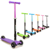 3Style Scooters® RGS-2 Kids Three Wheel Kick Scooter - Perfect For Children Aged +5 - Featuring LED Light-Up Wheels, Foldable Design, Adjustable Handles & Lightweight Construction