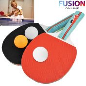 TABLE TENNIS PING PONG SET 2 PLAYER INCLUDES 3 BALLS TWO PADDLE BATS GAME SET UK FUSION