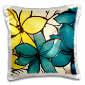 3dRose Teal and Yellow Floral, Pillow Case, 41cm by 41cm