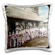 3dRose Vintage Geisha Girls, Pillow Case, 41cm by 41cm