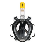 TOMSHOO Full Face Swimming Snorkel Mask Diving Mask 180° Wide View Anti-fog & Anti-leak Technology Free Easy Breathe Design with Earplugs with Camera Mount for Adults and Youth Swimming