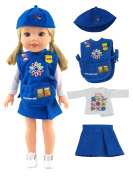 Daisy Girl Scouts Outfit for Wellie Wisher Dolls - 36cm Dolls | Fits 36cm American Girl Wellie Wisher Dolls| 36cm Doll Clothes
