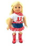 Red Cowgirl Boot Skirt Set | Fits 46cm American Girl Dolls, Madame Alexander, Our Generation, etc. | 46cm Doll Clothes