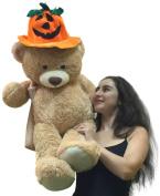Giant 0.9m Tan Teddy Bear Wearing Big Plush Pumpkin Hat, 90cm