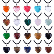 Outus 1.6cm Heart Stone Pendants Assorted Colour Chakra Beads Crystal Charms with 46cm Black Braided Imitation Leather Cord Necklace Chain, 20 Pieces