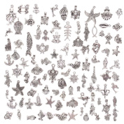 KeyZone Wholesale 100 Pieces Silver Plated Mixed Sea Animals Charms Pendants DIY for Jewellery Making and Crafting