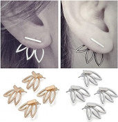 Sc0nni 4 pairs Lotus Flower Earrings Jewellery Simple Chic Earrings Best Gift for others(Gold & Silver)