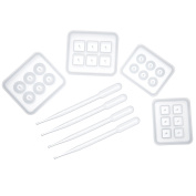 Mtlee 4 Pieces Round Square Silicone Bead Moulds with Holes Resin Jewellery Making DIY Craft Tools and 4 Pieces Transparent Pipettes