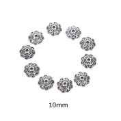 AOWA 100Pcs Tibetan Silver lotus Flower End Bead Caps For Jewellery Craft DIY Jewellery Accessories,10MM