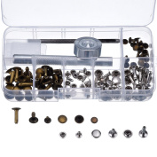 Outus Rivets Single Cap Rivet Tubular Metal Studs with Fixing Tool Kit for Leather Craft Repairs Decoration, 3 Sizes, 60 Set