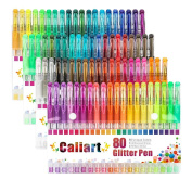 Caliart 80 Glitter Gel Pens Colouring Pen Set for Adult Colouring Books Bullet Journal Mandalas Crafting Doodling Drawing Art Markers
